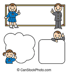 School life set - This is a frame. The illustration of a boy...