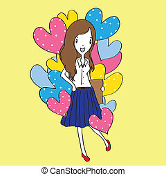 cartoon vector for Valentine's Day - Vector illustration of...