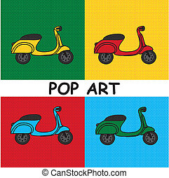 motobike - pop art motorbike over colourful tiled background...