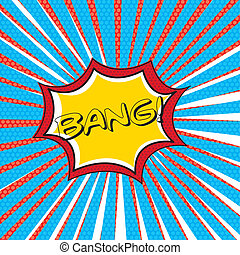 bang comic over thought bubble background vector...