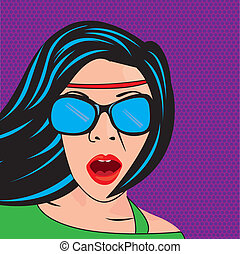 pop art woman with sunglasses over purple background vector