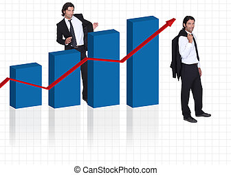 gentleman wearing suit and bar graph