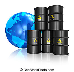 Oil trading concept: stacked black metal oil barrels and...