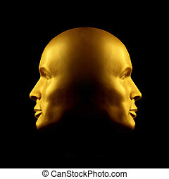 Two-faced gold head statue - Two faced gold head statue...