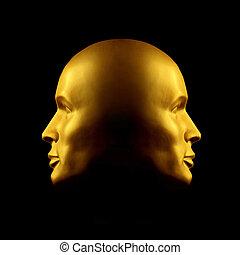 dos encarado, oro, cabeza, estatua
