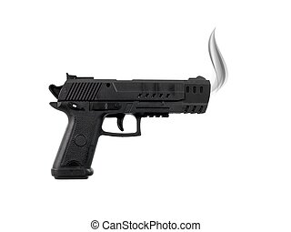 Hand Gun - A toy hand gun isolated against a white...