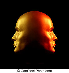 Two-faced head statue, red and gold - Two-faced head statue...