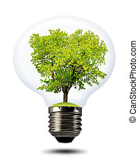 green tree growing in a bulb isolated on white