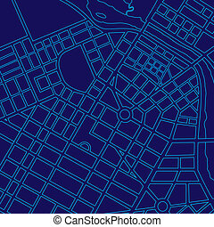 Blue digital map of a generic city - Blue digital map of a...