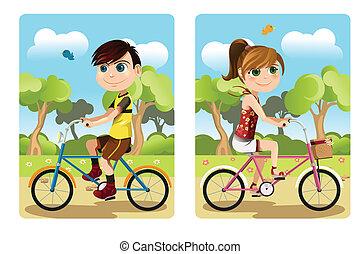 niños, equitación, bicicleta