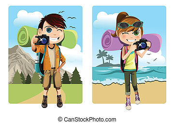 Traveling kids - A vector illustration of a boy and a girl...