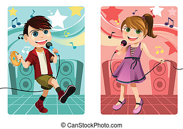 Kids singing karaoke - A vector illustration of kids singing...