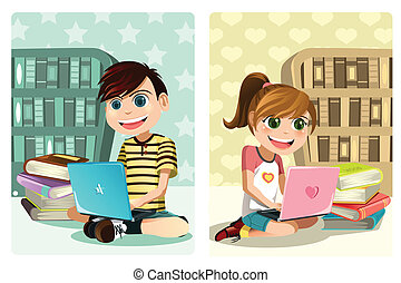 Kids studying using laptop - A vector illustration of a boy...
