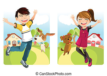 Kids with dog - A vector illustration of a boy and a girl...