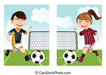 Kids playing soccer - A vector illustration of a boy and a...