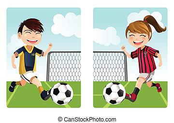 crianças, tocando, futebol