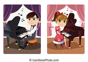 Kids playing piano - A vector illustration of a boy and a...