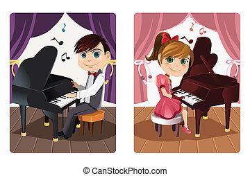 niños, juego, piano
