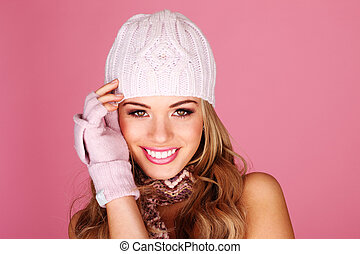 Smiling Woman In Winter Accessories - Smiling woman wearing...