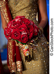 Image of a beautiful Indian bride's bouquet during wedding