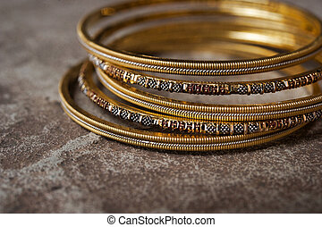 Indian Bangles - Detail shot of ornate Indian bangles for...