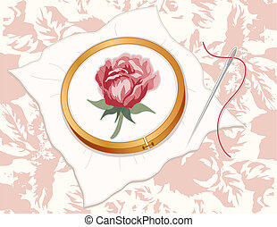 Red Damask Rose Embroidery - Wood embroidery hoop with red...