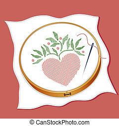 Folk Art Style Embroidery - Folk art style heart stitchery,...