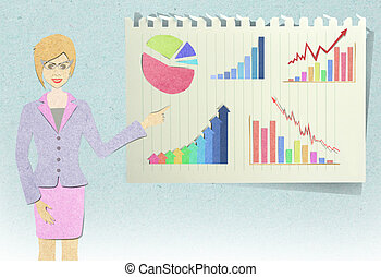 Business woman recycled paper craft on white background -...