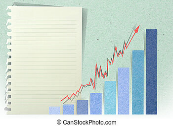 Conceptual Business charts with staple recycled paper craft stick