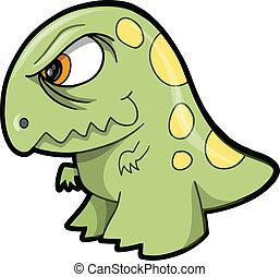 Tough Green Dinosaur Animal Vector