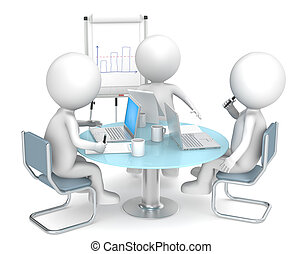 Business meeting - 3D little human characters X3 Manager...