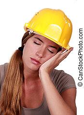 cansado, construcción, trabajador