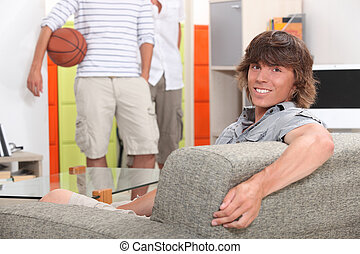 Lads at home with a basketball