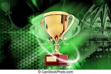 Trophy - Digital illustration of Trophy in colour background...
