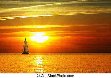 Sunny Adventure - Sailboat on the ocean at sunset