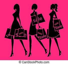 Shopping Girls - Illustration of three young women holding...