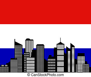 City and flag of the Netherlands