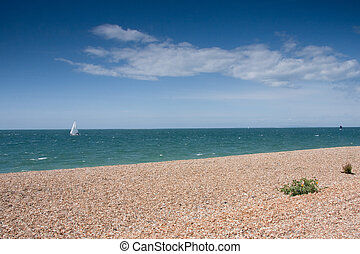 Beautiful beach view - View of Chesil beach,Weymouth,...