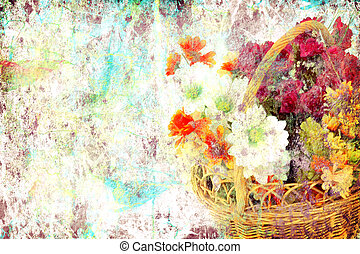 Flowers grunge background - grunge background with space for...