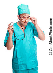 surgeon - humorous portrait of a young surgeon with a...