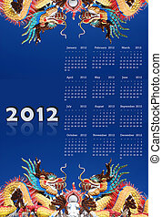 2012 calendar on dragon chinese style