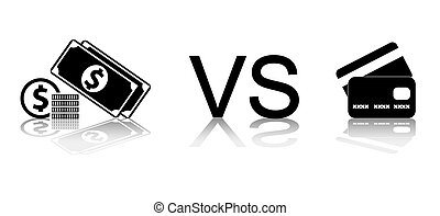 Cash vs card Black and white vector illustration