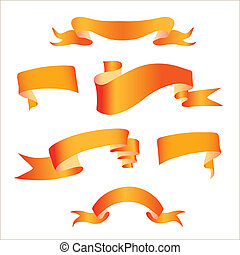 orange ribbon - image of orange ribbons on a white...