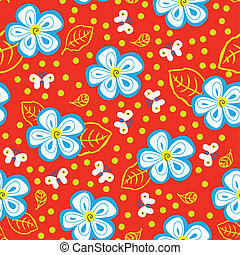 Butterflies and Daisies - Seamless texture with white...