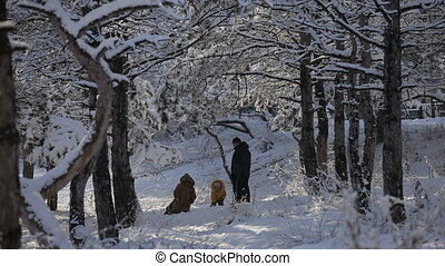 Family is playing in the winter