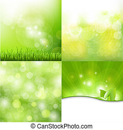 Nature Background Set - 4 Nature Backgroun, Vector...
