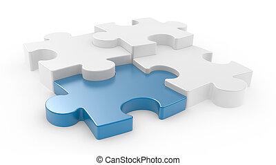 Four puzzle pieces interconnected - Four puzzle pieces...