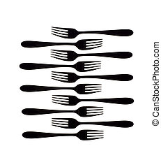 Forks - Silhouette of forks isolated on white background