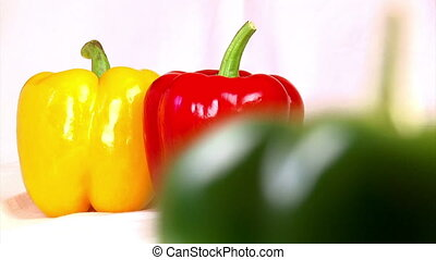 Vegetables, three-color bell peppers, green, shallow depth...
