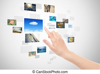 Hand Using Touch Screen Interface With Pictures